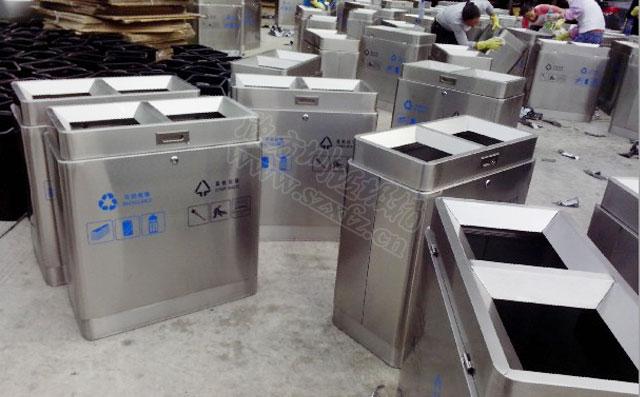 室内分类桶       欣方圳分类不锈钢垃圾桶采用201优质不锈钢材质制作图片